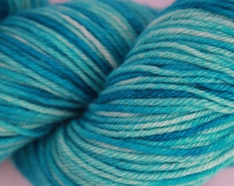 Tonal bright Blue DK hand dyed yarn. 100% Super Wash Blue Faced Leicester, British Wool.  approx 100g, 225m 245 yards