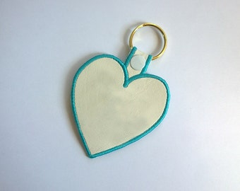 ITH Heart Shaped Key Fob Embroidery Design Files