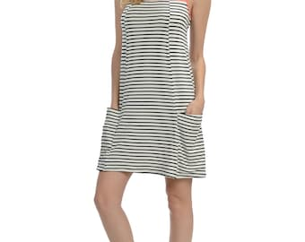 Coral Stripe Pocket Sheath Dress