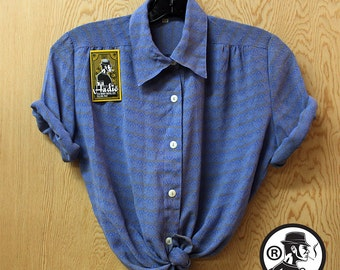 Vintage Blouse Blue and Grey 90's Made In Japan -Hadio 5014