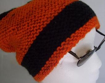 ORANGE/ NAVY Beanie..Handknitted..Slouchy..stocking hat...