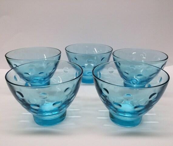 Set of 5 Vintage Depression Glass Nut Bowls Blue Bowl Polka Dot Entertaining Appetizer Serving
