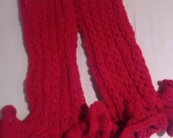 Red Knitted Leg Warmers
