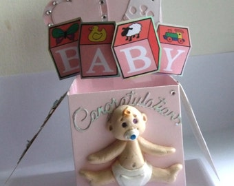 New baby girl pop up box card
