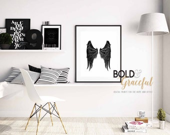 Angel Wings Wall Decor / Angel Wings Art  / Guardian Angel / Inspirational Wall Art / Distressed Wall Art / Wall Decor / Black and White /
