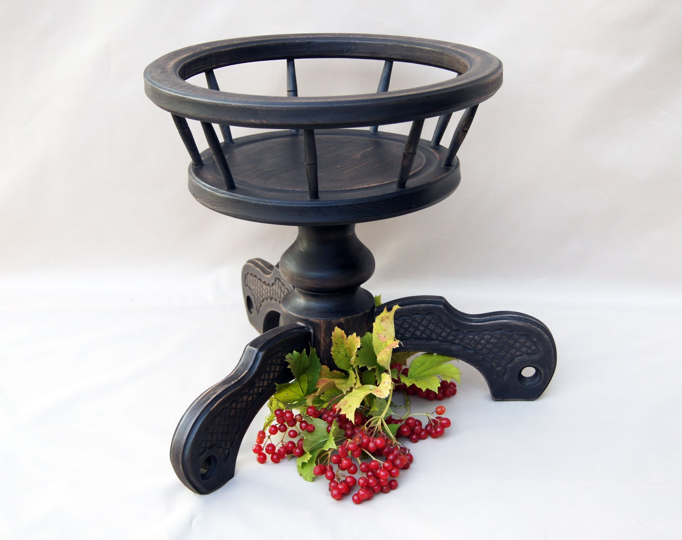 Black Wood Plant Stand Wooden Plant Holder Large Flower Pot