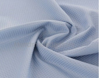 100% Pure Cotton Waffle Fabric,Soft Blue Waffle Checkered Pattern Textured Fabric for Bath Towel/ Robes (JJ82)