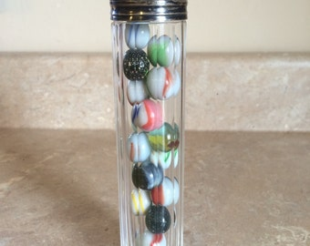 Antique perfume/smelling salts bottle with marbles