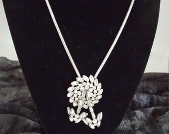 Signed Garne Jewelry Vintage Necklace - Silver Necklace with Rhinestone Pendant - Rhinestone Necklace - Vintage Necklace - 1950 Era