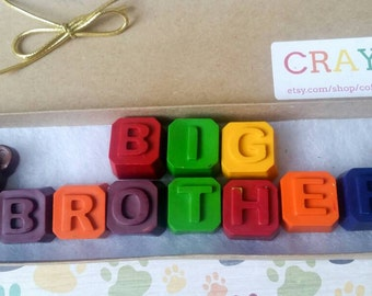 Big brother gift - New brother gift - Custom crayons - Big Brother gift set - Personalized Big Brother Gift - Gift from new baby - Crayons