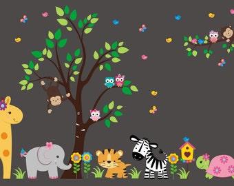 """Safari Wall Decals - Jungle Wall Decals - Nursery Wall Decals - Baby Shop - Baby Girl - Baby Life - Wall Stickers - Kids Wall - 85"""" x 140"""""""