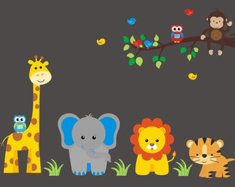 """Removable Nursery Decals, Reusable Baby Wall Decals, Safari Wall Decals, Jungle Wall Stickers, Animal Wall Decals, Monkey Owl - 60"""" x 50"""""""