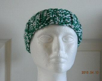 Headband, Ear Warmer, Hairband, Knotted - Green/White