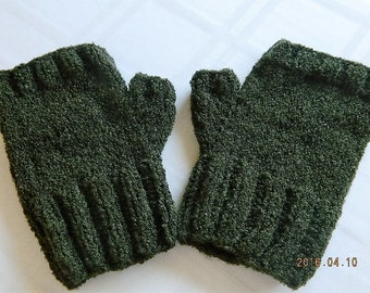 Men's Fingerless Gloves, Men's Fingerless Mitts, Green Gloves, Hand Knit - Sage Green