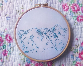 Mountains Sketch Embroidered Hoop Wanderlust Adventure Explore Embroidery