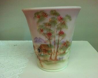 Fenton Burmese Glass Hand Painted Vase. Signed.