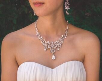 Vintage Bridal Jewelry Set, Floral Wedding Necklace Set, Gatsby Bridal Necklace, Crystal Rhinestone Necklace Earrings, Wedding Jewelry