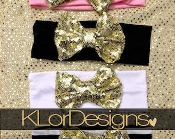 Baby headband, Baby girl headband, gold sequin bow headband, pink headband, headband, black headband