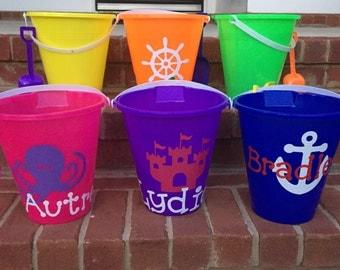 "Personalized ""Monogrammed"" Kids Sand Buckets; Beach Buckets"