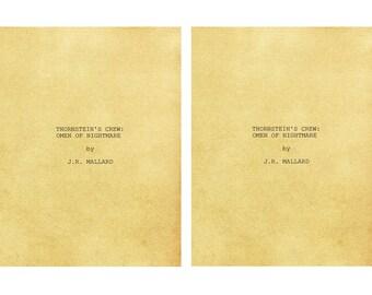 2 x THORNSTEIN'S CREW: Omen of Nightmare Self-Published Read Screenplay Horror Period Drama Romance