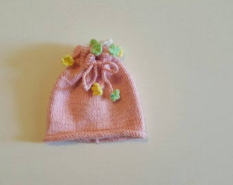 Pink hand knitted hat with floweres on the top,  hat for baby girl,baby hat