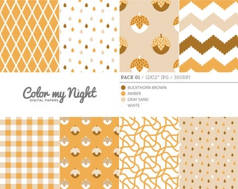 80% OFF SALE Digital Paper Brown 'Pack01' Chevron, Gingham, Drops, Fruits, Crosshatch & Abstract Backgrounds for Scrapbook, DIY Projects...