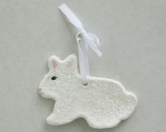 White Bunny, Bunny Ornament, Easter Decorations, Easter Ornament, Spring Decor, Easter Bunny Decor, Easter Basket Decor, Spring Decor