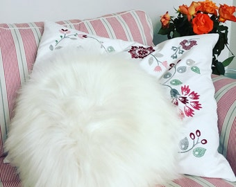 Round Furry Pillow /Sheepskin Cushions - 7 different colours, 4 sizes!