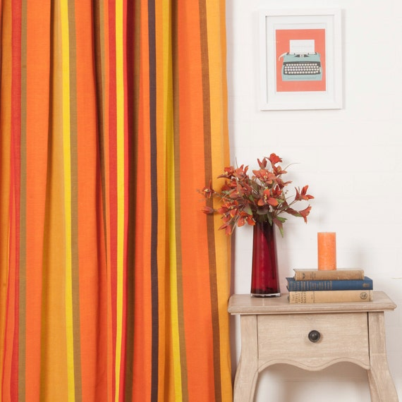 Orange And Yellow Striped Custom Cotton Curtains: By