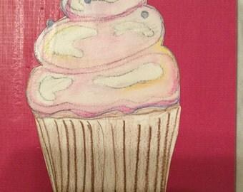 Watercolour cupcake on canvas
