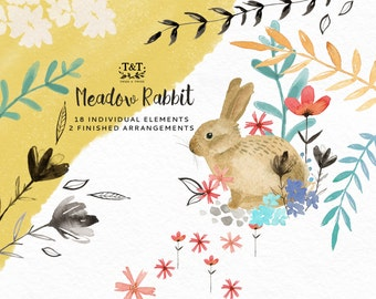 Watercolor Clipart - Hand Painted - Meadow Rabbit. 18 hand painted watercolor elements and 2 finished arrangements.