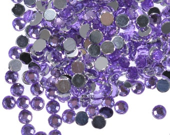 Purple Rhinestones, 4mm Rhinestones, 4mm Purple Rhinestones, Purple Cabochon, PurpleFlatback, Purple Embellishments, Light Purple Rhinestone