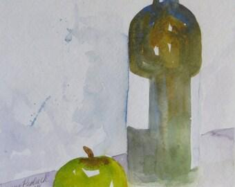 Watercolor Original Rectangular Still Life Wine Apple Lime Green Purple