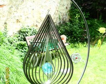 Stainless steel wind chime drop XL with effect glass ball 32 x 20 cm