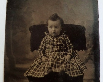 Tintype Photo Cute Little Girl Plaid Dress