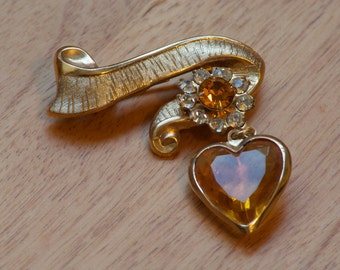 Vintage Heart and Banner Brooch with Rhinestones