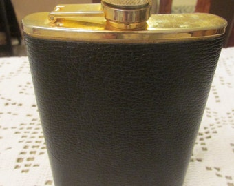Vintage Comoy's of London 8 oz Whiskey Flask Stainless Steel Made in Hong Kong Faux Leather