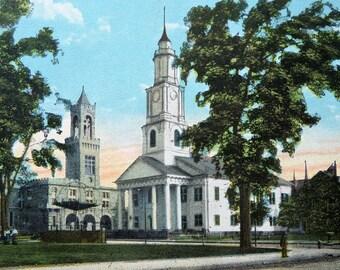 Springfield Massachusetts First Congregational Church & Court House -- Vintage Souvenir Postcard