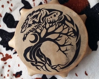 "Shaman drum with life wood and wolf (25cm/10"")"