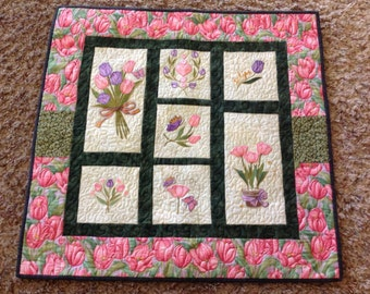 Embroidered and Quilted Wall Hanging