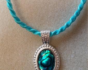 Turquoise paua shell pendant