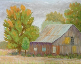 Barn with Green Blinds Original Pastel Landscape Painting