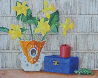 """Still Life Painting Original Pastel Wall Art """"The Mantel 2"""""""