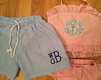 Baby or toddler boys monogram swim suit