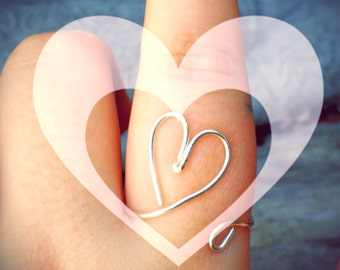 Adjustable Wire Wrapped Heart Ring