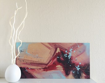 "Original Red Abstract Acrylic Painting - 12"" x 24"""