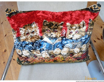 """Cushion """"Three cats"""", cover #velours tapestry, #50 x 70 / / 20"""