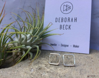 Geometric, Square earrings, studs, sterling silver, Minimal, contemporary, simple, polished, urban,