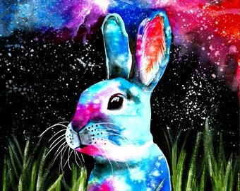 Original watercolor painting Rabbit from Neptune