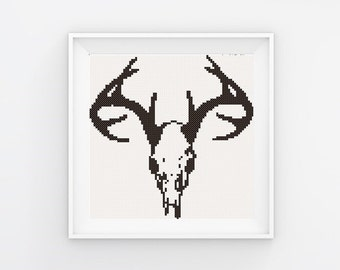 Deer bull skull cross stitch pattern instant download cross stitch pattern black and white cross stitch digital embroidery pattern  boho